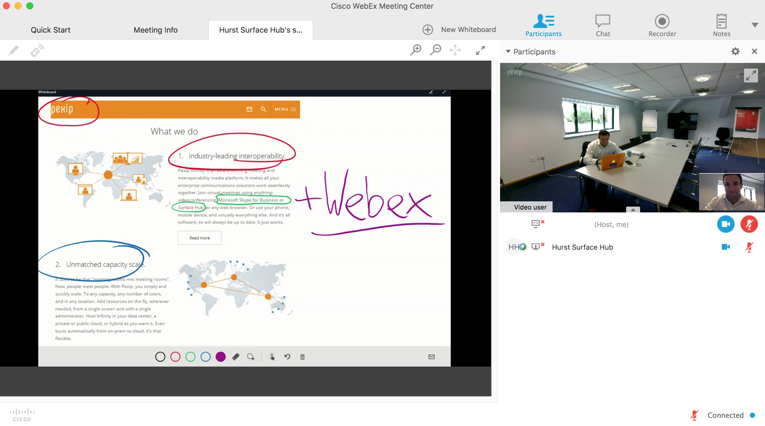 Microsoft Surface Hub & Skype for Business into a Webex Meeting