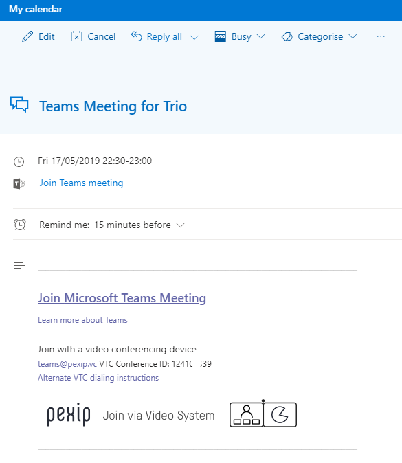 Outlook Invite with Teams Cloud Video Interop