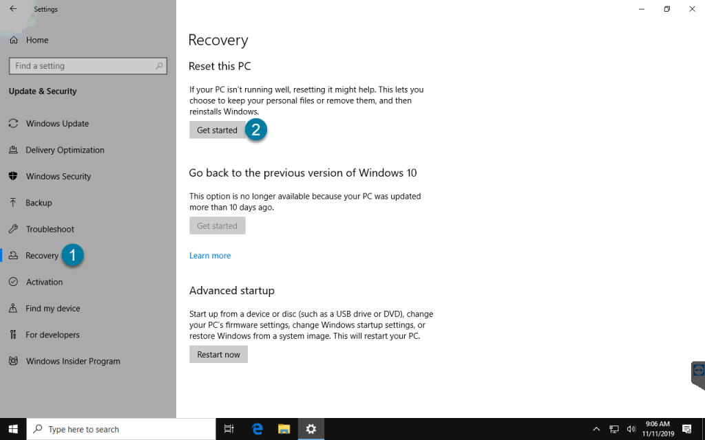 Windows Recovery Options