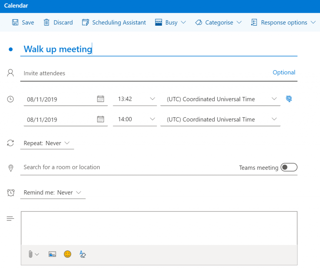Calendar view of the booking in Outlook