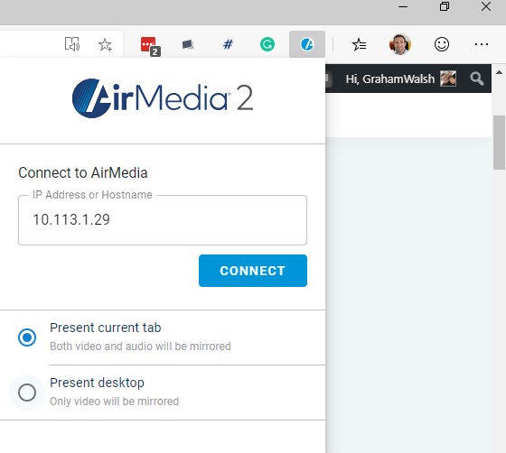 Chrome Extension - Connect to an AirMedia Server