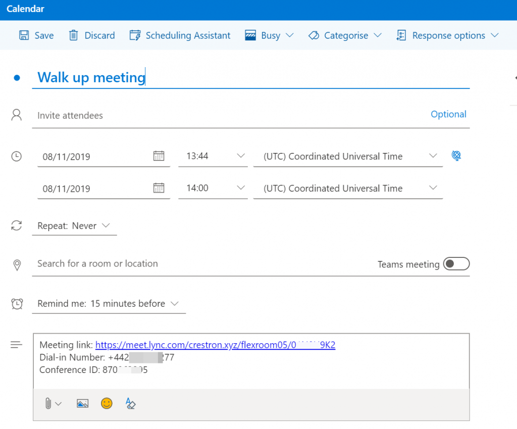 Outlook invite updated with a Skype Meeting based on Flow settings