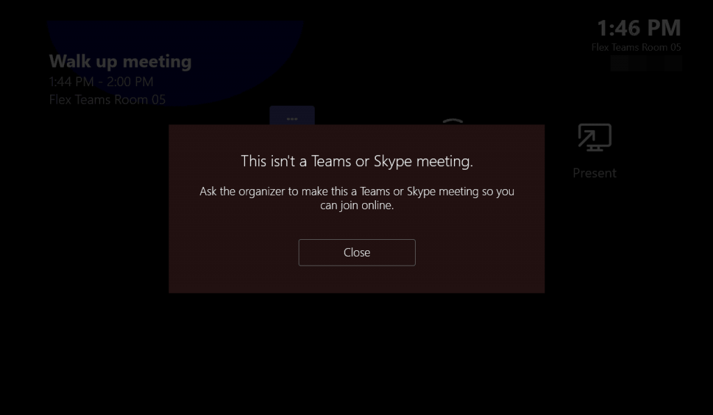 No online meeting for booking