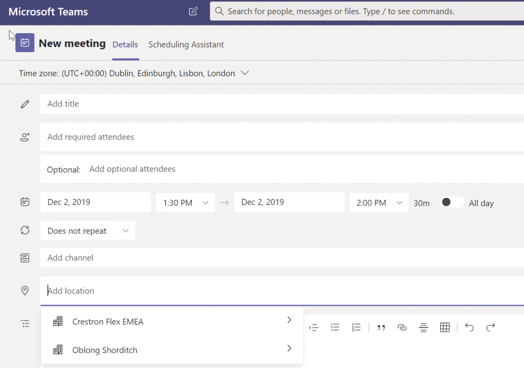 New Meeting Room List in Microsoft Teams