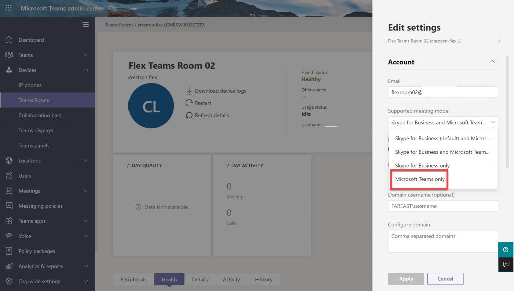 Centre d'administration des équipes - Modifier les paramètres en mode équipes uniquement